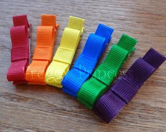 Rainbow Colors Tuxedo Bow Clippie Starter Set - No Slip Hair Clip Pack of 6