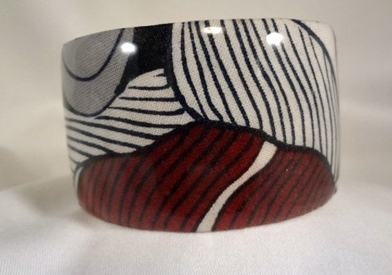 White and Burgundy Brass Cuff Bracelet, Fabric, Resin, Jewelry, Accessories (CCB55)