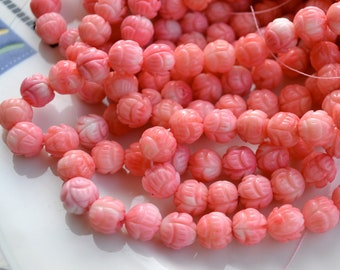 Pink Coral Carved 10mm Lotus Round Beads   10
