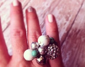 Cluster Ring- White and Turquoise