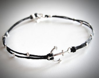Anchor bracelet, Nautical bracelet, sterling anchor linen bracelet, delta gamma anchor, Christmas gift, gift for woman, ready to ship