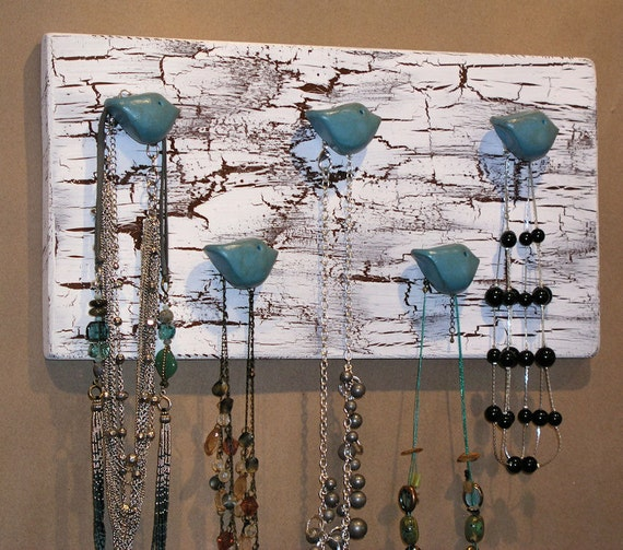 Jewelry Wall Hooks Necklace and Scarf Organizer ... Handmade bird rack to hold all of your scarves, necklaces.... great gift