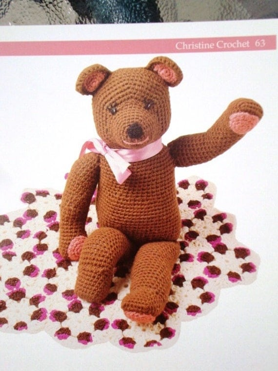 Christine Crochet - Teddy Bear Pattern - Crocheted Toy Bear and Blanket Pattern