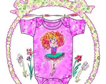 Sophia Ballerina HOT Pink Onesie Dance, Twirl, original art by  Rosanna Hope for Babybonbons