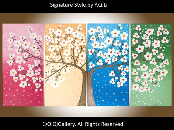 """Sale- Original oil abstract landscape Painting white cherry blossom Palette Knife four seasons tree art """"Spring Blossom"""" by qiqigallery"""