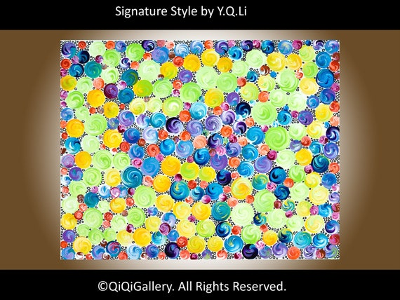 "Abstract Painting Original Modern Heavy Texture Impasto Acrylic ""Joyful"" Certificate Of Authenticity by QIQIGALLERY"