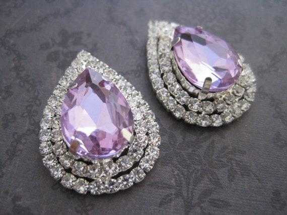 Tear drop lavender rhinestone shoe clips