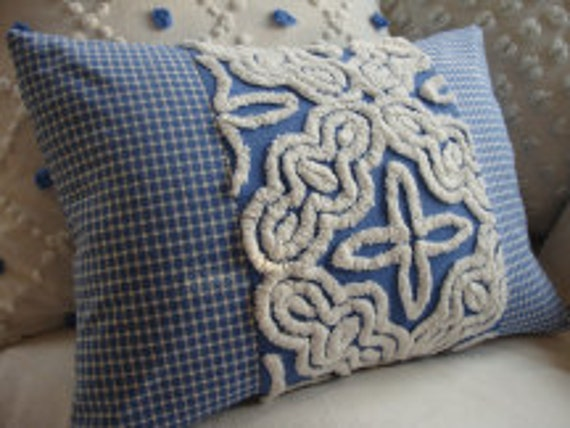 BLuE ViNTaGe CHeNiLLe Pillow PlaiD FreNCH SHaBBy CHiC CoTTaGe 14x18 Insert