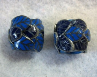Dread Beads Blue Leaves Set of 2   You Choose Hole Size