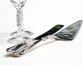 CUSTOM CHOOSE COLORS Beaded Wedding Cake Server And Knife Serving Set And Champagne Toasting Flutes Swarovski Crystal And Pearl