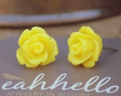 yellow parade rose flower earrings by yeahhello