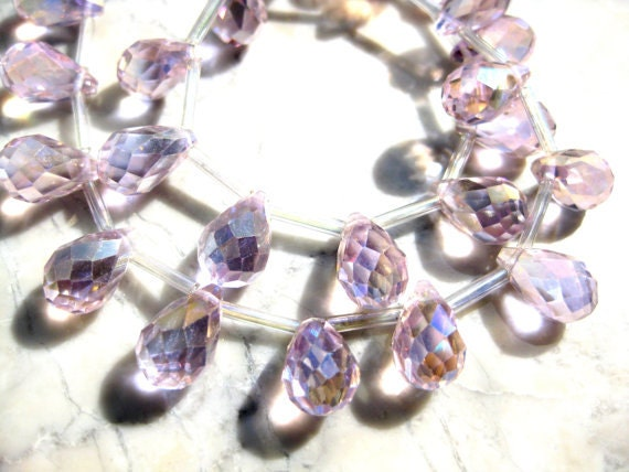 Pink AB faceted Crystal Teardrop Beads Pkg 10 size 12x8mm GB 407