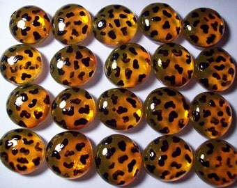 Hand painted glass gems party favors decorations  leopard print
