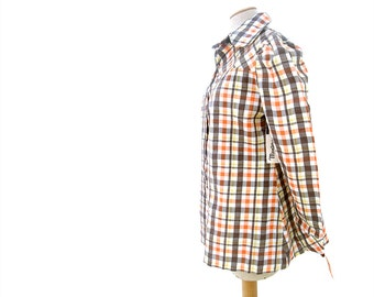 New Vintage Blouse NOS 70s Plaid Seersucker Smock Puff Long Sleeve size Large NWT Original Tags Deadstock
