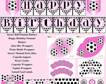 Instant Download, Soccer, Pink Black, DIY Printable, Girls Soccer, Girls birthday, Soccer Birthday, Printable Soccer, Soccer Party