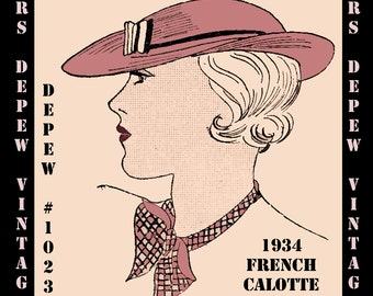 Vintage Sewing Pattern French 1930's Hat Depew 1023 Digital Print at Home Pattern -INSTANT DOWNLOAD-