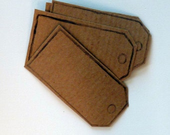 Set of 10 hand printed parcel tag kraft paper stickers in kraft brown.  Self adhesive labels, gift tags, bookplates, packaging, home office