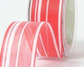 CLEARANCE - Jute - Ogranic Cotton Blend Ribbon with Stripes - Red & White