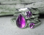 Stacking Rings - Amethyst Stacker Ring Set - Amethyst Ring February Birthstone - Amethyst, Purple, Violet, Lavender Stack Set