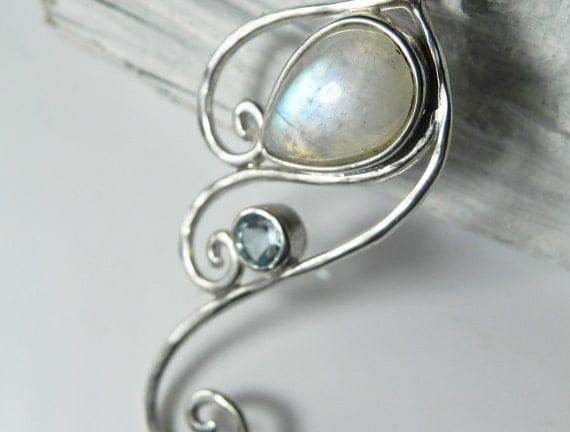Moonstone Necklace - Rainbow Moonstone Pendant - Wave Pendant - Swirl Necklace - Unique Moonstone Jewelry - Rainbow, Blue, Ocean Inspired