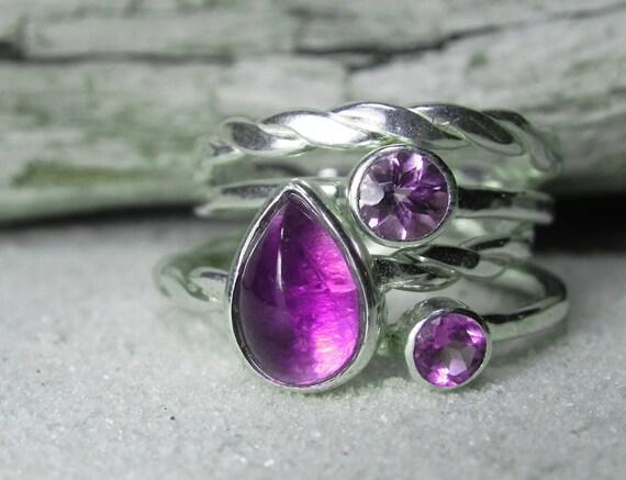 Stacking Rings - Amethyst Stacker Ring Set - Amethyst Ring February Birthstone - Amethyst, Purple, Violet, Lavender Stack Set