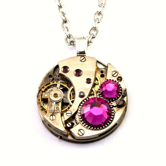 Steampunk Necklace - Gorgeous Clockwork Design Accented with Fuchsia HOT Pink Swarovski Crystals PROMPTLY SHIPPED - Steampunk Jewelry