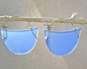 seaglass periwinkle crescent hoop earrings