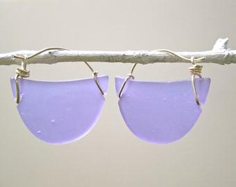 lilac seaglass-like crescent earrings