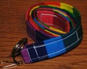 Rainbow stripes Breakaway LANYARD School ID Key Holder Teacher Office