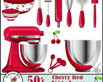 50's Cherry Red Kitchen Digital Clipart Graphics - 13 baking supplies, including bowl, wisk, rolling pin, etc {Instant Download}