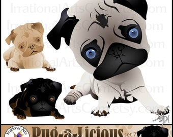Pug-a-Licious Pug Dog Clipart Graphics set 7: Chibi - 12 graphics little puppies with huge chibi-style heads {Instant Download}