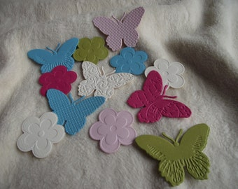 Scrapbook Embellishments...12 Piece Set of Very Sweet and Sassy Madeleine Butterflies and Blossoms Die Cuts Scrapbook Embellishments