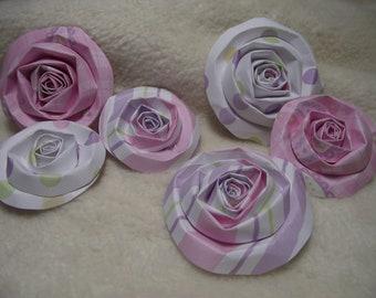 Scrapbook Flowers...6 Piece Set of Very Cute Sweet Shoppe Scrapbook Paper Flower Rolled Roses