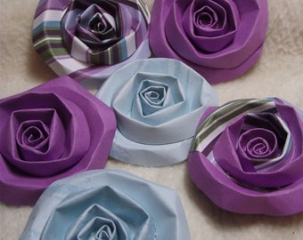Scrapbook Flowers...6 Piece Set of Very Pretty Robin's Egg and Purple Scrapbook Paper Flower Rolled Roses