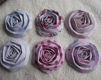 Scrapbook Flowers...6 Piece Set of Very Shabby Chic Floral Vintage Inspired Scrapbook Paper Flower Rolled Roses