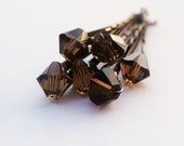 Chocolate Hair Pins Swarovski Crystal (wedding set of 6 Smoky Topaz bobby pins) -- Wedding Hair Accessory