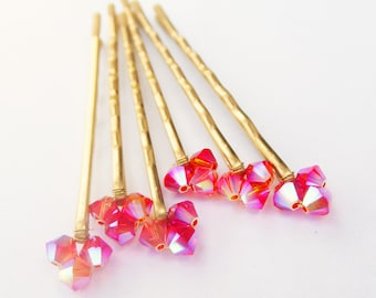 Pink Sparkly Wedding Hair Pins (set of 6 hair pins - hair accessories - bridal hair) Fuschia Gold