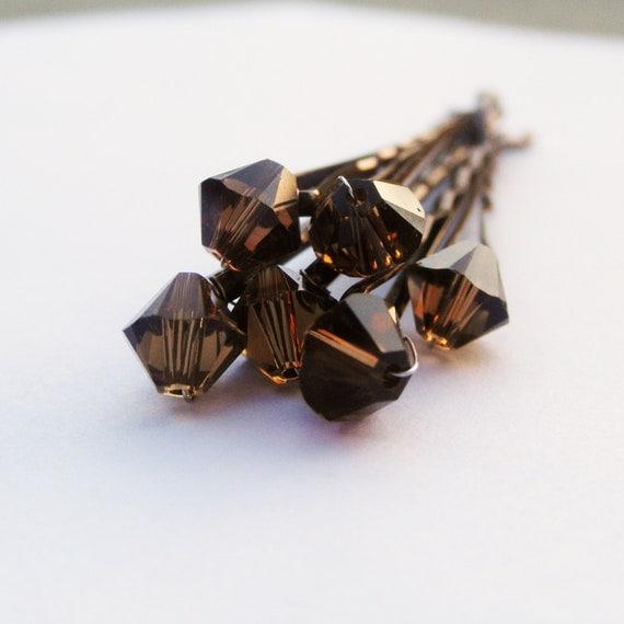 Chocolate Hair Pins Swarovski Crystal (wedding set of 6 Smoky Topaz bobby pins) -- Wedding Hair Accessory