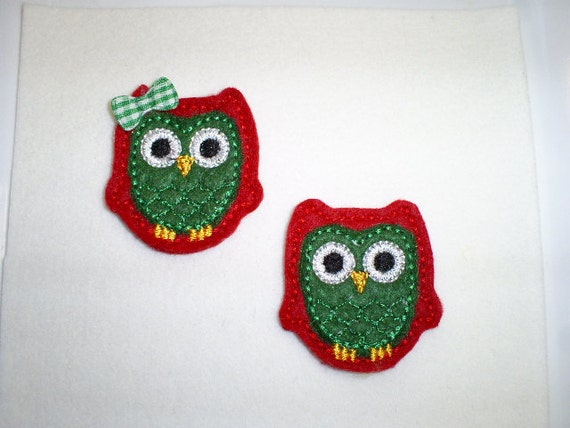 Felt Embroidered Appliques -READY TO SHIP-Christmas Owls - Set of 4