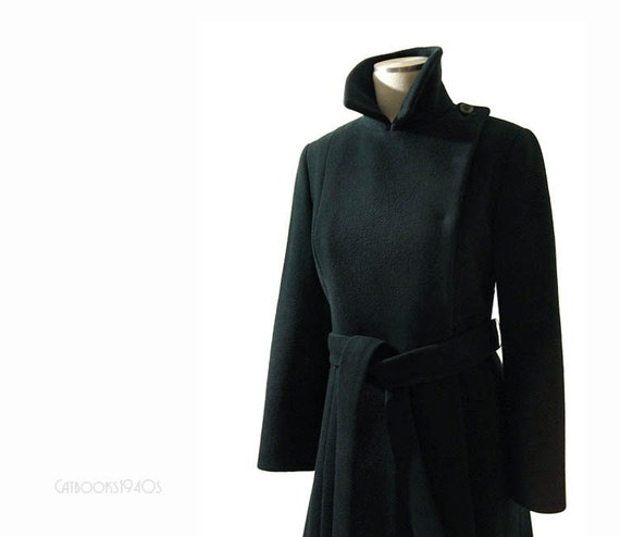 Vintage 1960s Coat - Dark Teal Green Wool Sculptural Wrap Coat XS S