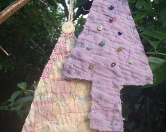 Vintage Quilt Ornaments Christmas Tree hanging Upcycled