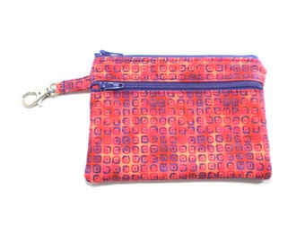 Larger Zippered Wallet Change Purse Gadget Case Coral and Purple Boxes