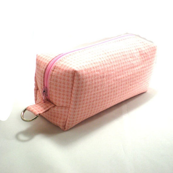 Medium Zipper Box Pouch Project or Travel Case Pink Houndstooth