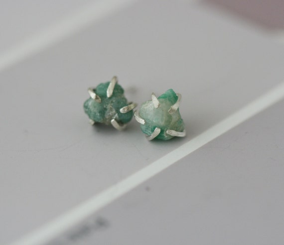 Rough Emerald Studs - Sterling Silver and Emerald Earrings