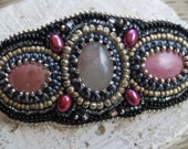 Bead Embroidered  Hair Barette with Rhodonite, Pink Quartz