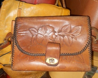 Vintage TOOLED LEATHER PURSE, Bag, mid century, cinnamon brown, Smart Leathercraft, hippie, boho tote