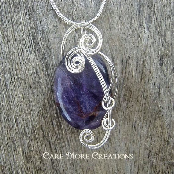 Amethyst Necklace - Wire Wrapped Pendant in Silver