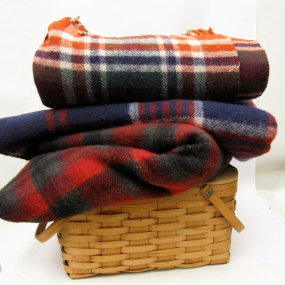 Vintage Tartan Wool Throw Blanket Lake House decor Brick Red Cream Blue Green