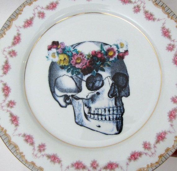 Skull Cake Plate Display Stand Floral Halloween home decor altered vintage china Pink Trick Or Treat Wedding