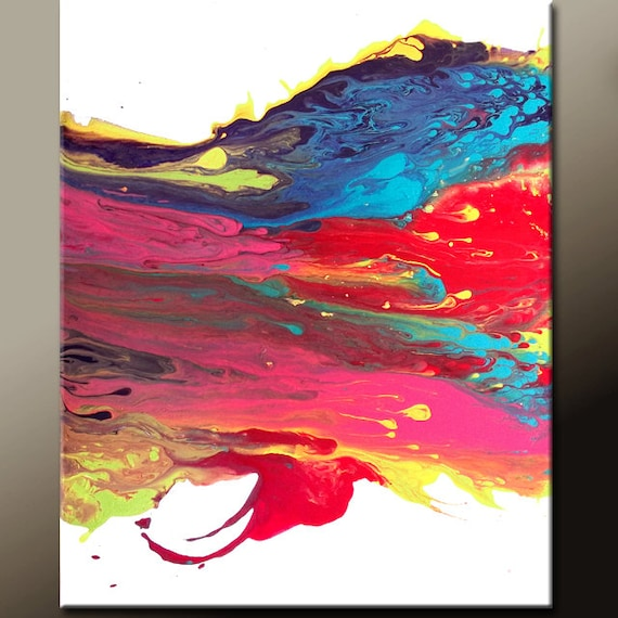 SALE Abstract Art Painting  16x20 Canvas Contemporary Rainbow Art Original  by Destiny Womack - dWo -  The Chase